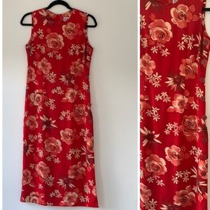 Vintage 90s Red floral dress with buttons